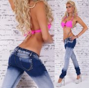 Jeans blue washed strass
